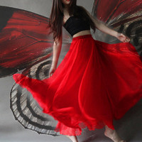 Any Colors Double Silk Chiffon Long Skirt / Summer Skirt/ Maxi Dress / Bridesmaid Dress / Red