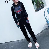 """Kenzo"" Women Casual Fashion Velvet Embroidery Tiger Head Letter Long Sleeve Hoodie Trousers Set Two-Piece Sportswear"