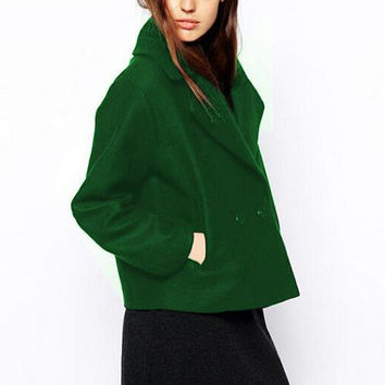 Long Sleeve Notched Collar Single-Breasted Woolen Coat