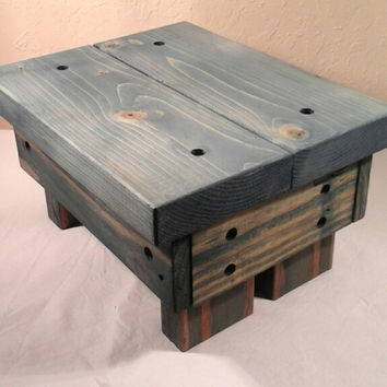 Rustic Step Stool, wooden, handmade (Worn Navy)