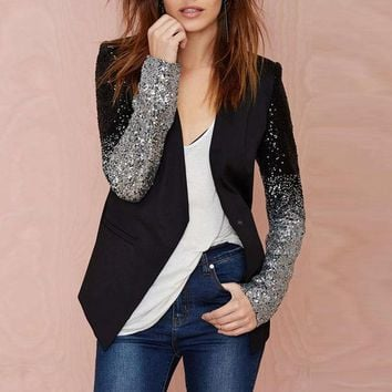DCCKWQA Women Thin Jacket Coat 2016 Spring Autumn Long Sleeve Lapel Fashion Silver Black Sequin Elegant Slim Work Blazers Suit feminino