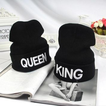 QUEEN KING Bonnets Man Woman Couple Skullies Beanies Hats Lover Cap