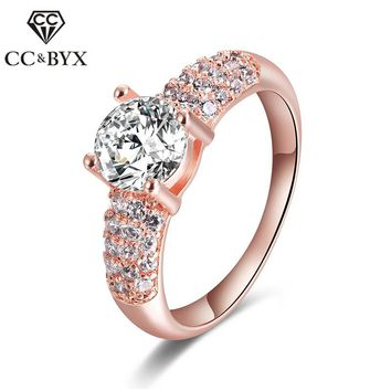 Fine Rose Gold Color Rings Trendy Vintage Wedding Engagement Rings Jewelry Accessories Wedding Bands 18KR003