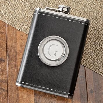 Personalized 8oz Leather Flask with Folding Shot Glass Free Engraving