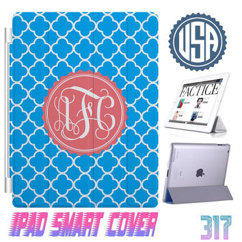 Personalized Monogram Blue  IPad Air Smart Cover , IPad Mini Smart Cover IPad 4 Case , IPad 3 2 IPhone 5  4 4S Magnetic Sleep Wake #317