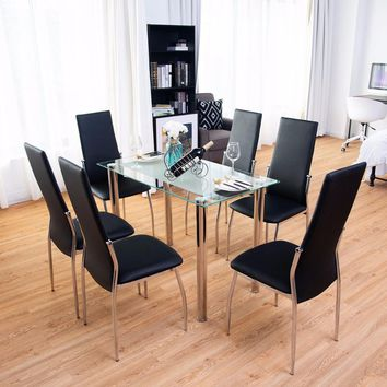 cd332f3b1 Giantex 7Pcs Dining Set Tempered Glass Top Table   6 Chairs Kitc