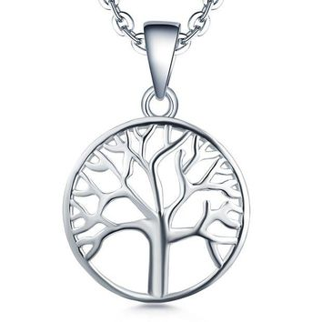 DCCKV2S Tree of life Pendant Necklace-YL 925 Sterling Silver Tree Necklace Jewelry-Womens Girls Christmas Tree Charm Necklace-Mothers Day Family Tree of Life Necklace-White Gold Giving Money Mens Boys Gifts