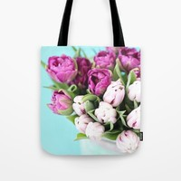 pink and purple tulips Wall Tapestry by Sylvia Cook Photography