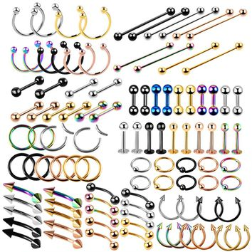 10pcs/lot Stainless Steel Segment Ring Mixed Colors Nose Lip Eyebrow Tongue Ear Ring Captive Bead Ring Body Jewelry Piercings