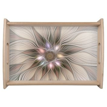 Joyful Flower Abstract Beige Brown Floral Fractal Serving Tray
