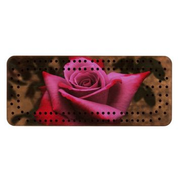 Pink and Red Rose Wood Cribbage Board