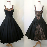Stunning 1950's Lilli Diamond Designer Cocktail Party Dress with Inset Lace Bustle Detail Rockabilly VLV Pinup Girl Cupcake Size-Medium