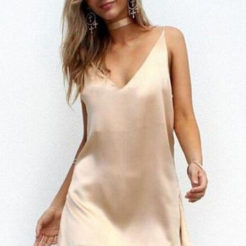 DCCK7XP Women Summer Spaghetti Strap Slip Dress V Neck Satin Mini Dresses 2016 Party Beach Vestidos strand jurk