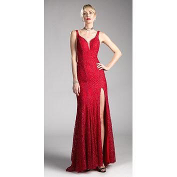 Deep Red V-Neck Long Sheath Prom Dress with Slit