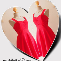 Vintage Red Party Dress Red Dress Cocktail Red Bridesmaid Dress Red Homecoming Swing Skirt Red Modest Dress / Side Pockets / XS-XL, Custom