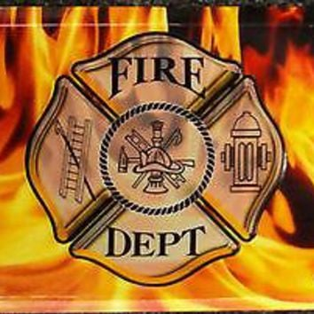 Fire Department Metal A;uminum Embossed License Plate Tag Flames Firefighter