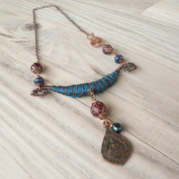 Silk Road Necklace, Adjustable, Purple and Amber, Silk Wrapped, Copper Buddha Necklace