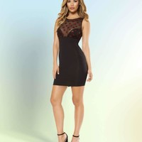 Roma 3364 Dress with Star Shaped Glitter Sheer Mesh Top
