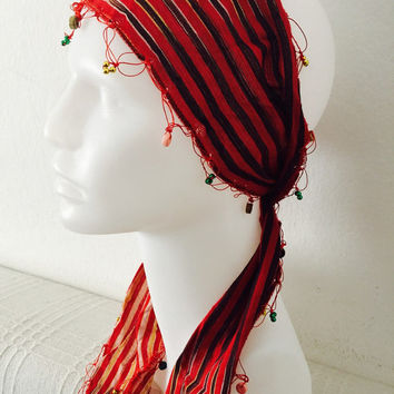 Traditional fabric stripped cloth adult woman red authentic fancy headband headscarf headwrap hairband beads hair accessory girl fashion