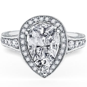 "Kirk Kara ""Carmella"" Pear Shaped Halo Diamond Engagement Ring"