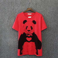 Fashion Heart Panda Print Top
