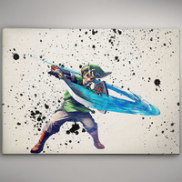 Link Legend of Zelda Game Watercolor Poster Gift Art  No155