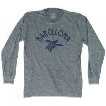 Barcelona Beach Sea Turtle Adult Tri-Blend Long Sleeve T-shirt