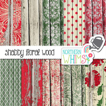 Distressed Wood Digital Paper Pack – shabby floral peeling paint barn board papers in red and cream – wood digital paper - commercial use