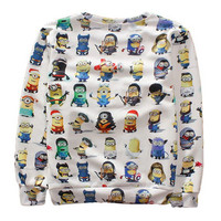 Print Emoji Set Minions Cartoon Casual 3D Sweatshirt