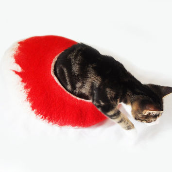 Cat Bed Cave Cocoon with free Ball Toy in White and Red