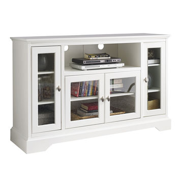 "52"" Highboy Style Wood TV Stand - White"