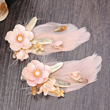 Red Accessory Korean Handcrafts Floral Feather White Hair Clip Prom Dress [8779897036]