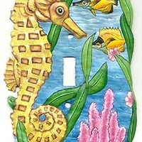 Painted Metal Seahorse Switchplate Cover - Tropical Decor