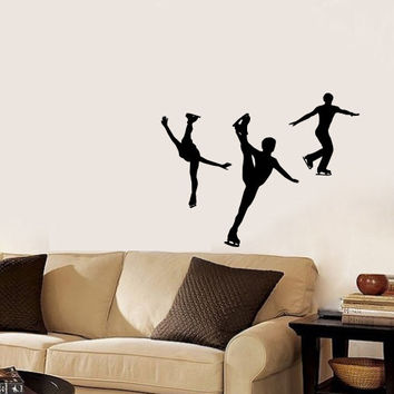 Vinyl Decal Sport Figure Skating Skaters On Ice Athletes Home Wall Decor Stylish Sticker Mural Unique Design for Any Room V799