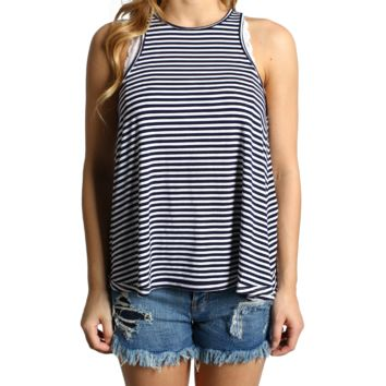 Navy Stripe Piko Racerback Tank Top