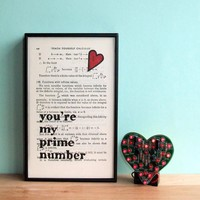 Romantic Typographic Art 'You're My Prime Number' On Vintage Book Page | Luulla