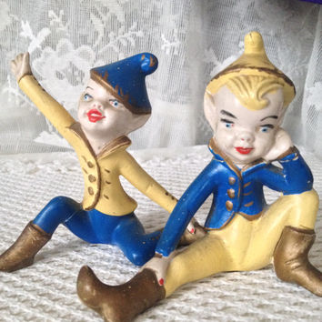 Shelf Sitter Pixies Holland Mold, Garish, Mischievous Christmas Elves, Vintage 1960s Ceramic Collectible Decor, Seriously Cool Set of Two
