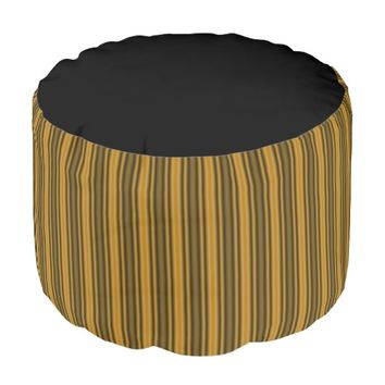Orange and Black Stripes Pouf