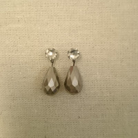 Silver Glass Luster Drop Earring Charms, Swarovski Stud Earring Not Included