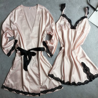 New autumn and winter female long-sleeved black lace strap nightgown two-piece tracksuit matte satin gown
