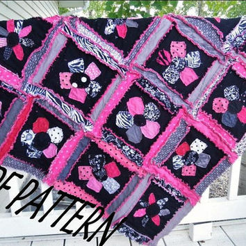 Rag Quilt PATTERN Sewing Flower Applique Baby by avisiontoremember