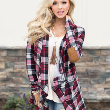 Miss Independent Suede Elbow Patch Plaid Cardigan