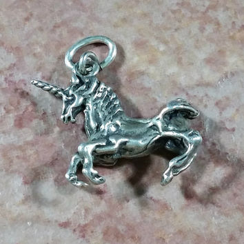 Vintage Silver Charm Unicorn Mythical Creature Fantasy World Horse with a Horn Bracelet Charm or Necklace Pendant Chain Adornment