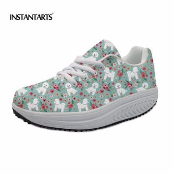 INSTANTARTS Women Fitness Toning Swing Shoes Cute Bichon Frise/Bull Terrier/Boxer Flower Printing Slimming Sneakers for Ladies