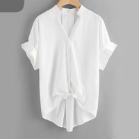 Basic White Shirt Frill Cuff Knot Front Blouse Dip Hem Women Summer Tops New Button Up V Neck Blouse