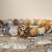 Picture Jasper Sea Sediment & Grey Dragon Vein Bracelet with Gold Lion Charm, Gifts for Him, Gemstone Bracelets, Mala Wrist Beads