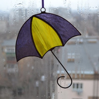 Stained Glass Umbrella Suncatcher yellow gold grape purple, Ornament, Window / Wall decor, Glass art, Wall hanging, Home decor, Decoration