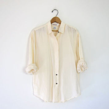 Shop Cream Silk Blouse on Wanelo