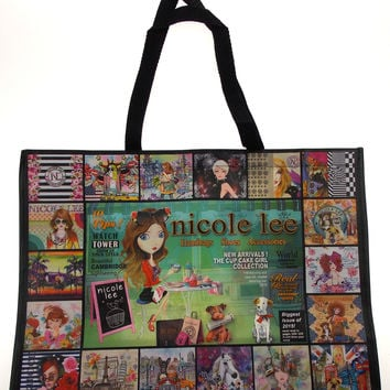 Nicole Lee Hollywood Tote Shopping Beach Bag Black Cup Cake Girl Lightweight 21""