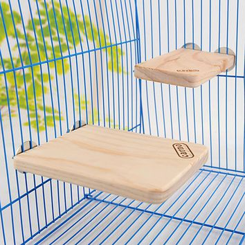 Wooden Rectangular Springboard Pet Hamster Totoro Squirrel Bird Parrot Rat Mouse Mice Pedal Toys Cage Accessories Free Shipping